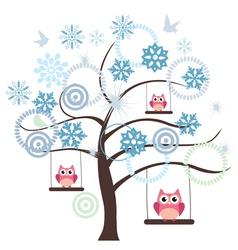 tree snow owl vector image vector image