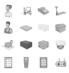 Warehouse store icons set monochrome style vector