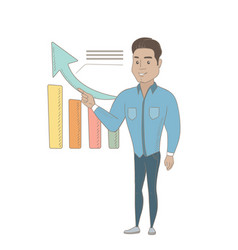 young hispanic businessman pointing at chart vector image