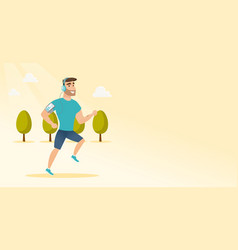 young man running with earphones and smartphone vector image vector image