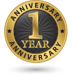 1 year anniversary gold label vector