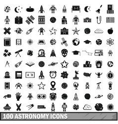 100 astronomy icons set simple style vector
