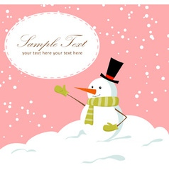 Snowman card pink vector image