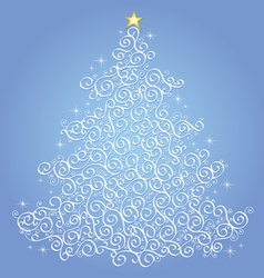 White filigree christmas tree-blue background vector