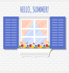Window with shutters and flowerpot in flat style vector