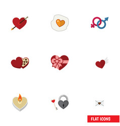Flat icon amour set of heart present wings and vector
