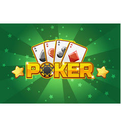 Logo text poker and playing cards for ui game vector