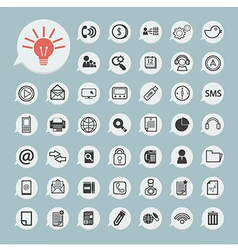 Communication icons and technology icon on blue pa vector