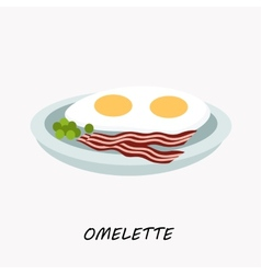 Scrambled eggs with fried bacon on a plate vector