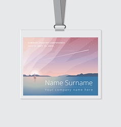 Conference name tag mockup template with summer vector
