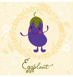 Cute eggplant character vector