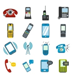 Phone flat icons vector
