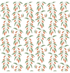Seamless pattern branches and leaves of goji vector