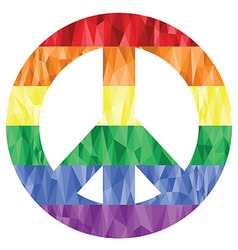 Peace symbol in gay and lesbian rainbow low poly vector