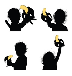 Child eat banana silhouette vector