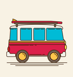 A retro travel van flat style vector