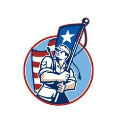 American Patriot Serviceman Soldier Flag Retro vector image