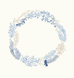 Blue and beige foliate wreath doodle vector