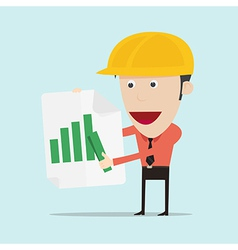 Business man and engineer show positive bar graph vector