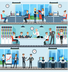 Business people working in office set men and vector