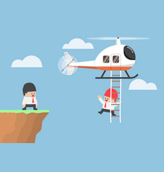 businessman across the cliff by helicopter vector image vector image