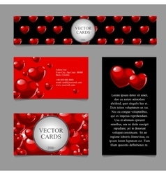 Cards with volumetric texture of hearts vector image vector image