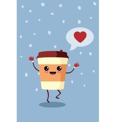 Cartoon comic coffee paper cup vector