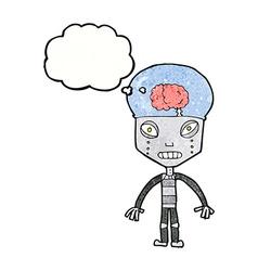 Cartoonw weird robot with thought bubble vector
