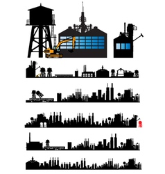 City and Old Factory silhouette vector image vector image