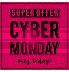 Cyber Monday sale banner on pink background vector image vector image