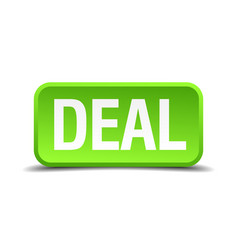Deal green 3d realistic square isolated button vector
