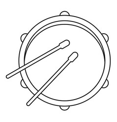 Drum icon outline style vector