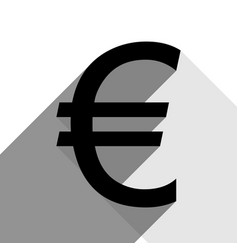 euro sign black icon with two flat gray vector image vector image