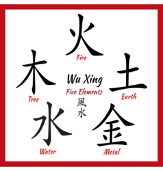 Five feng shui elements vector