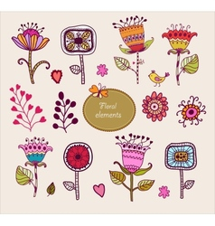 Hand Drawn floral elements Set of flowers vector image