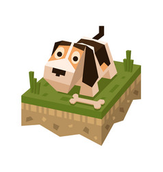 Isometric flat dog on tile of ground vector