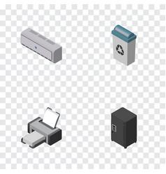 Isometric work set of strongbox printing machine vector
