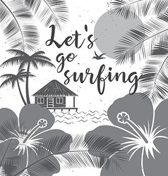 Lets go surfing design summer surfing retro banner vector