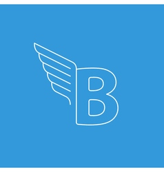 Letter b logo with wings in thin lines vector
