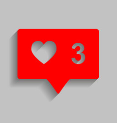 Like and comment sign red icon with soft vector