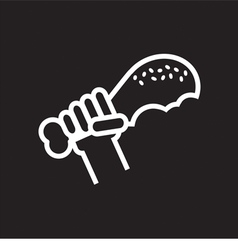 Line Icon Fried Drumstick In Hand vector image