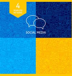 Line social media patterns vector