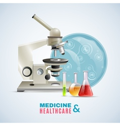 Medical healthcare research flat composition vector
