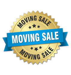 moving sale round isolated gold badge vector image vector image