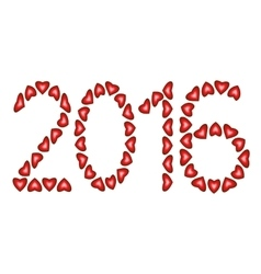 New Year 2016 made from hearts vector image vector image