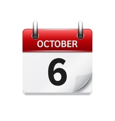 October 6 flat daily calendar icon date vector