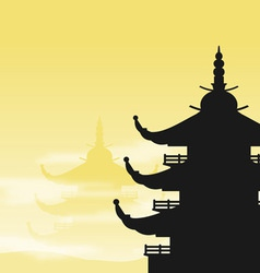 pagoda silhouette at dawn vector image