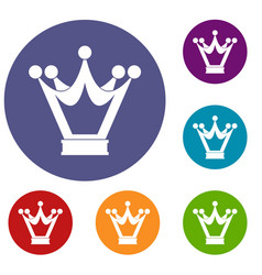 Princess crown icons set vector