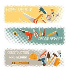 Repair and construction horizontal banners with vector