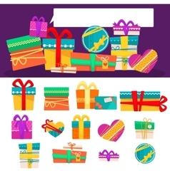 set of different colorful gift boxes with vector image